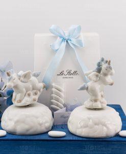 bomboniera carillon porcellana unicorno rampante con criniera azzurra posizioni assortite