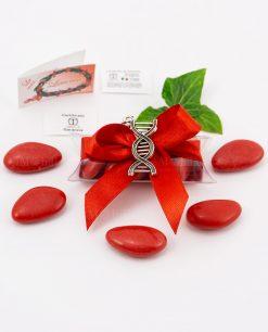 bomboniera ciondolo DNA microfusione placcato argento tabor su tubicino fiocco e confetti rossi