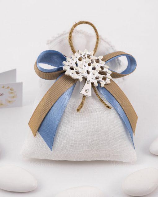 bomboniera ciondolo albero della vita su sacchetto bianco