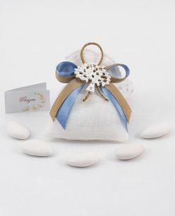 bomboniera ciondolo albero della vita su sacchetto bianco con fiocco avion e tortora