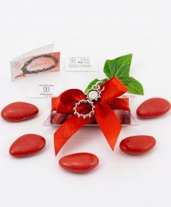 bomboniera ciondolo atomi microfusione placcato argento tabor su tubicino fiocco e confetti rossi