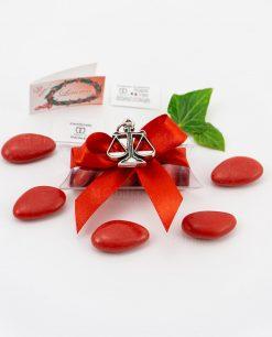 bomboniera ciondolo bilancia microfusione placcato argento tabor su tubicino fiocco e confetti rossi