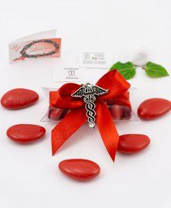 bomboniera ciondolo caduceo microfusione placcato argento tabor su tubicino fiocco e confetti rossi