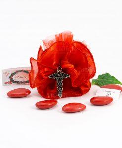 bomboniera ciondolo caduceo microfusione tabor su sacchetto rosso organza