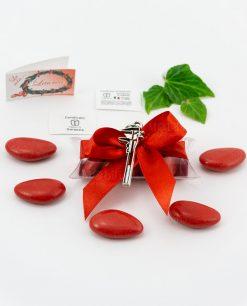 bomboniera ciondolo calibro microfusione placcato argento tabor su tubicino fiocco e confetti rossi