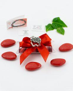 bomboniera ciondolo cervello microfusione placcato argento tabor su tubicino fiocco e confetti rossi