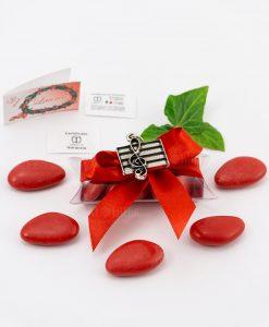 bomboniera ciondolo chiave di violino microfusione placcato argento tabor su tubicino fiocco e confetti rossi