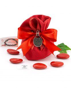 bomboniera ciondolo coccinella microfusione placcato argento tabor su sacchetto portaconfetti rosso rigato