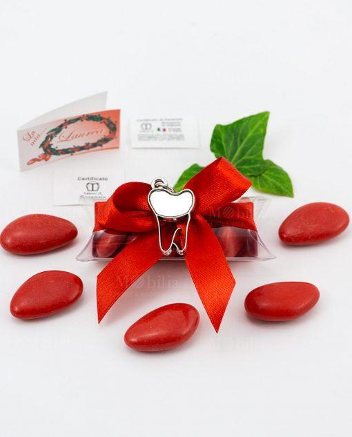 bomboniera ciondolo dente microfusione placcato argento tabor su tubicino fiocco e confetti rossi