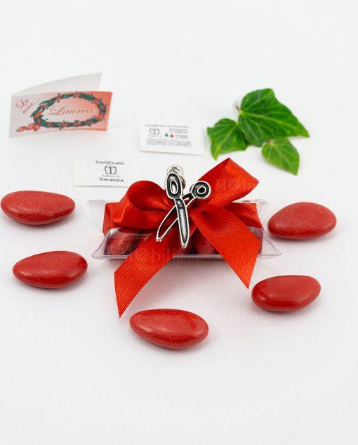 bomboniera ciondolo forbici microfusione placcato argento tabor su tubicino fiocco e confetti rossi