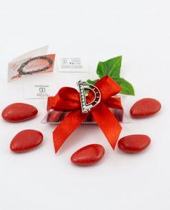 bomboniera ciondolo goniometro microfusione placcato argento tabor su tubicino fiocco e confetti rossi