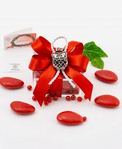 bomboniera ciondolo gufo microfusione placcato argento tabor su scatolina trasparente con fiocco a 4 rosso e cordoncino