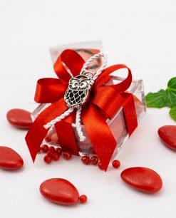 bomboniera ciondolo gufo microfusione tabor su scatolina fiocco a 4 rosso e cordoncino
