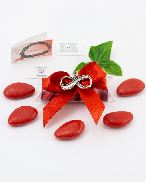 bomboniera ciondolo infinito microfusione placcato argento tabor su tubicino fiocco e confetti rossi
