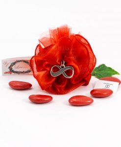 bomboniera ciondolo infinito microfusione tabor su sacchetto rosso organza
