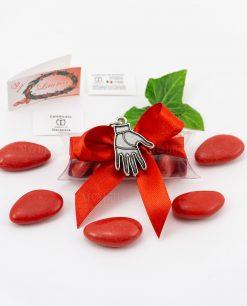 bomboniera ciondolo mano microfusione placcato argento tabor su tubicino fiocco e confetti rossi