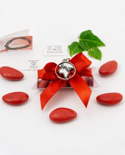 bomboniera ciondolo mappamondo microfusione placcato argento tabor su tubicino fiocco e confetti rossi