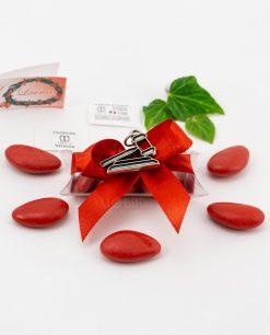 bomboniera ciondolo martelletto microfusione placcato argento tabor su tubicino fiocco e confetti rossi