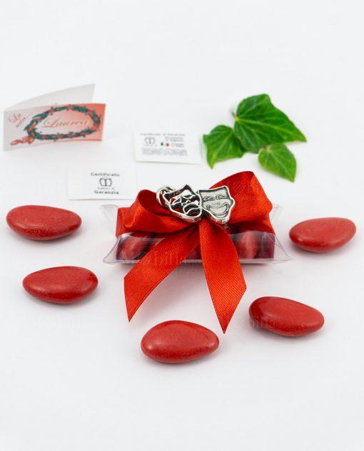 bomboniera ciondolo maschere microfusione placcato argento tabor su tubicino fiocco e confetti rossi