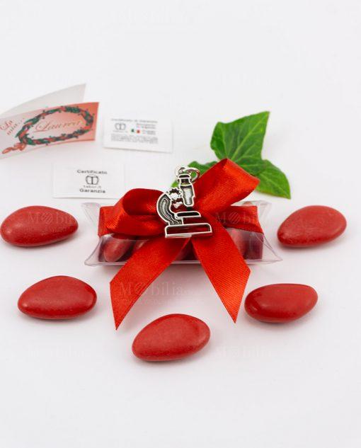 bomboniera ciondolo microscopio microfusione placcato argento tabor su tubicino fiocco e confetti rossi