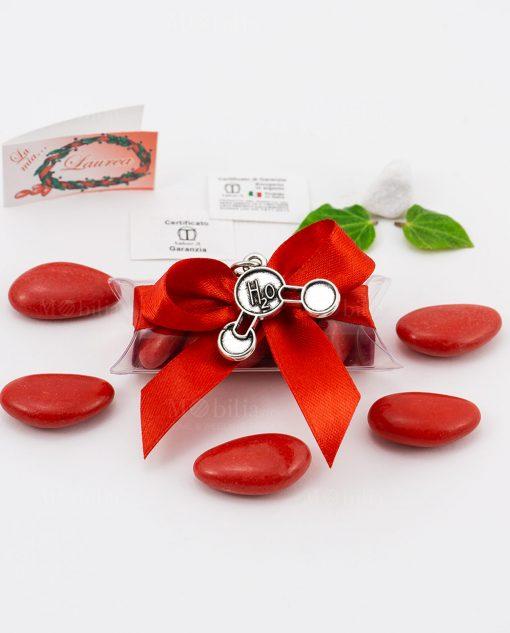 bomboniera ciondolo molecola h2o microfusione placcato argento tabor su tubicino fiocco e confetti rossi