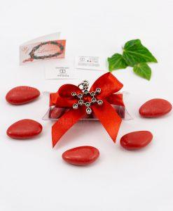 bomboniera ciondolo molecola microfusione placcato argento tabor su tubicino fiocco e confetti rossi