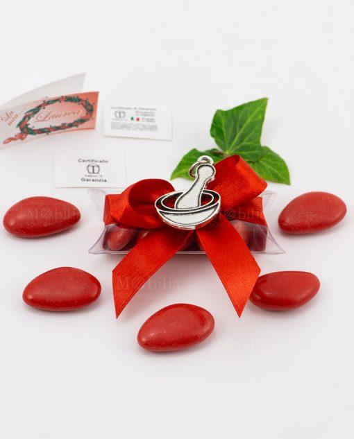 bomboniera ciondolo mortaio microfusione placcato argento tabor su tubicino fiocco e confetti rossi