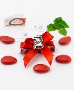 bomboniera ciondolo pergamena microfusione placcato argento tabor su tubicino fiocco e confetti rossi