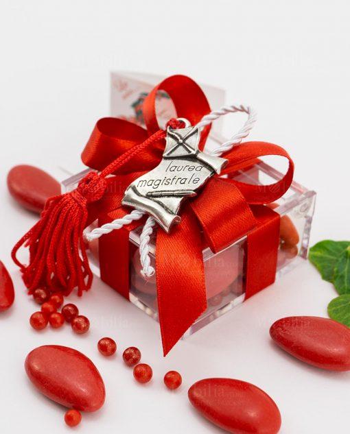 bomboniera ciondolo pergamena microfusione tabor su scatolina fiocco a 4 rosso e cordoncino
