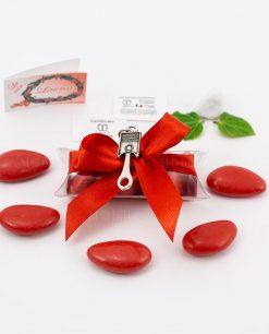 bomboniera ciondolo pistone microfusione placcato argento tabor su tubicino fiocco e confetti rossi