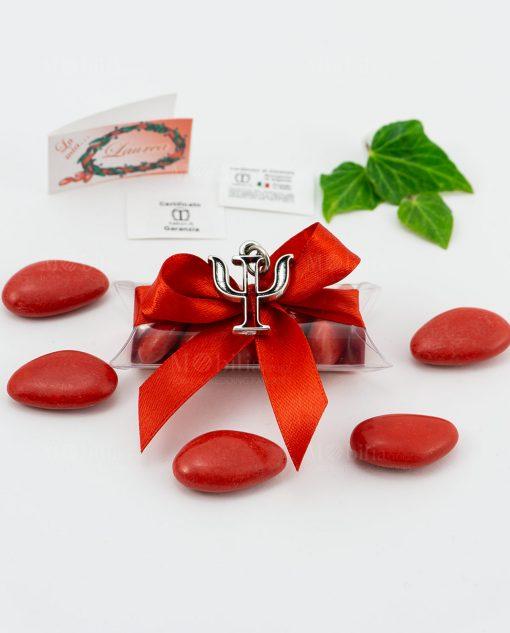 bomboniera ciondolo psicologia microfusione placcato argento tabor su tubicino fiocco e confetti rossi