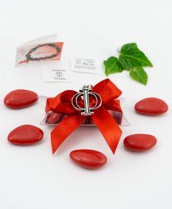 bomboniera ciondolo simbolo filosofia microfusione placcato argento tabor su tubicino fiocco e confetti rossi