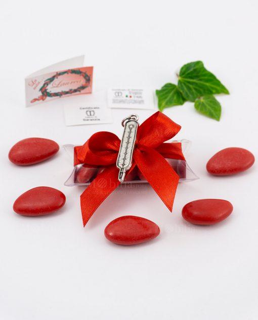 bomboniera ciondolo termometro microfusione placcato argento tabor su tubicino fiocco e confetti rossi