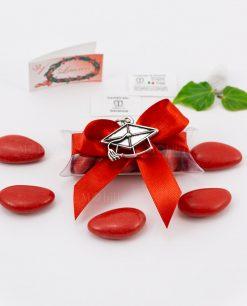 bomboniera ciondolo tocco con nappina microfusione placcato argento tabor su tubicino fiocco e confetti rossi