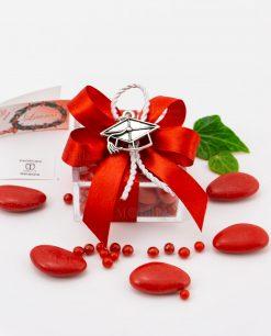 bomboniera ciondolo tocco microfusione placcato argento tabor su scatolina trasparente con fiocco a 4 rosso e cordoncino