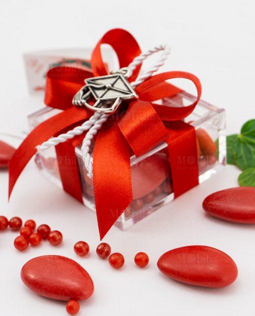 bomboniera ciondolo tocco microfusione tabor su scatolina fiocco a 4 rosso e cordoncino
