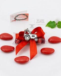bomboniera ciondolo trattore microfusione placcato argento tabor su tubicino fiocco e confetti rossi