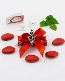 bomboniera ciondolo veterinaria microfusione placcato argento tabor su tubicino fiocco e confetti rossi