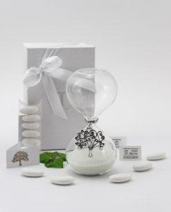 bomboniera clessidra vetro sabbia bianca ciondolo albero della vita argento tabor