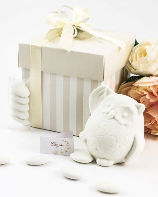 bomboniera confezione lusso lampada bianca gufetto
