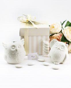 bomboniera confezione lusso lampda ceramica bianca gufo due modelli