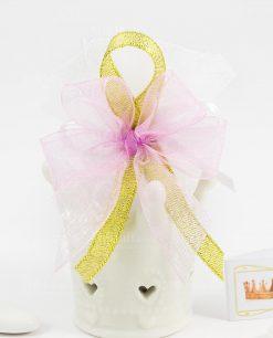 bomboniera coroncina bianca porcellana linfinito con fiocco rosa e oro