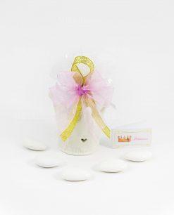 bomboniera coroncina porcellana bianca con fiocco rosa e oro bigliettino princess