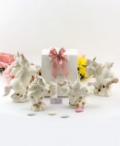 bomboniera lampada led porcellana bianca unicorno due misure