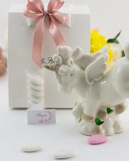 bomboniera lampada porcellana bianca unicorno grande