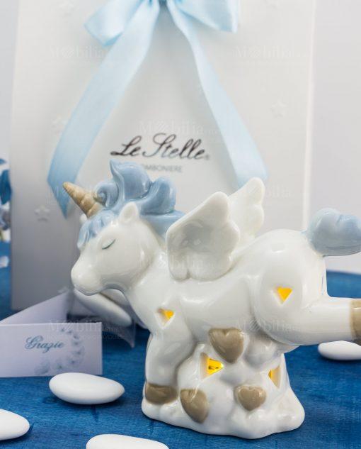 bomboniera lampada porcellana unicorno azzurro piccola