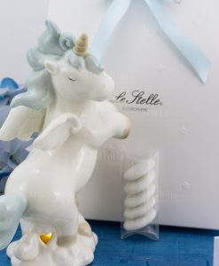 bomboniera lampada porcellana unicorno rampante azzurro grande
