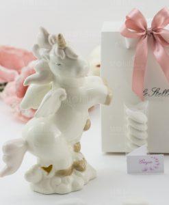 bomboniera lampada porcellana unicorno rampante grande