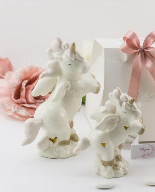 bomboniera lampada porcellana unicorno rampante grande e piccolo