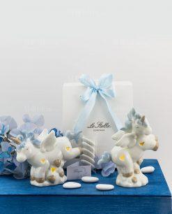 bomboniera lampada unicorno azzurro piccolo porcellana